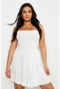 White Plus Shirring Bandeau Beach Skater Dress