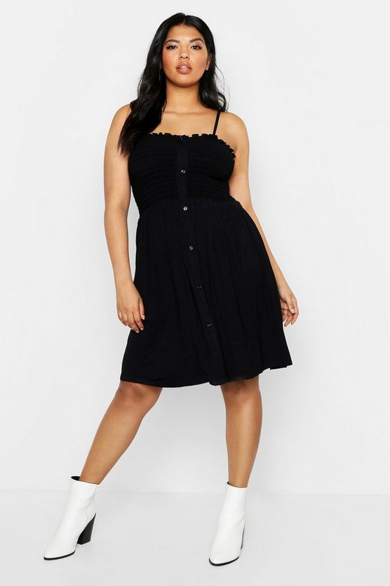Womens Black Plus Button Down Sheered Beach Skater Dress