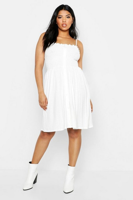 Womens White Plus Button Down Sheered Beach Skater Dress