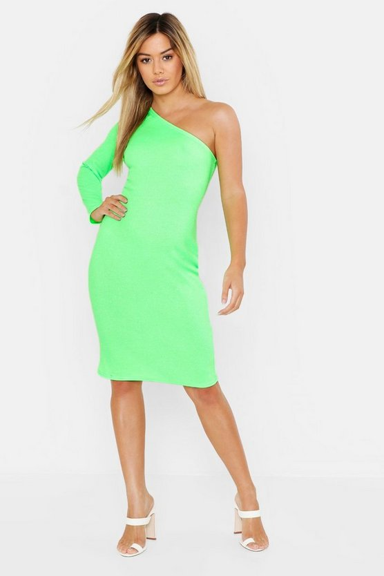 Womens Neon-green Petite One Shoulder Cut Out Bodycon Dress