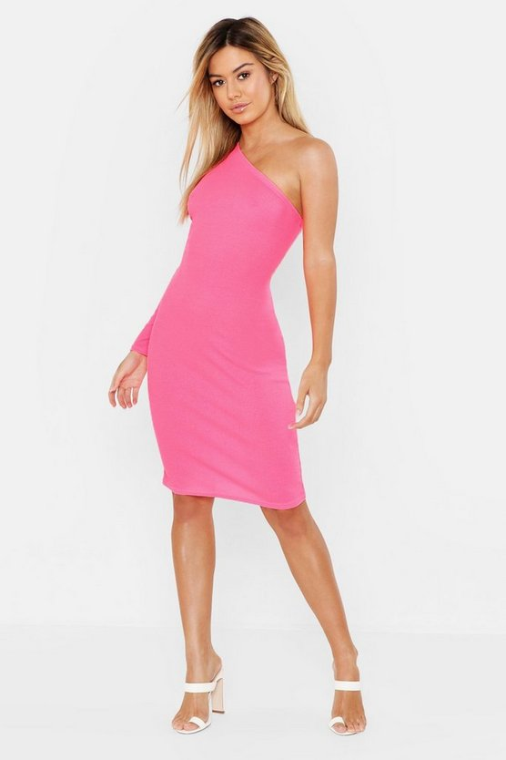 Womens Neon-pink Petite One Shoulder Cut Out Bodycon Dress