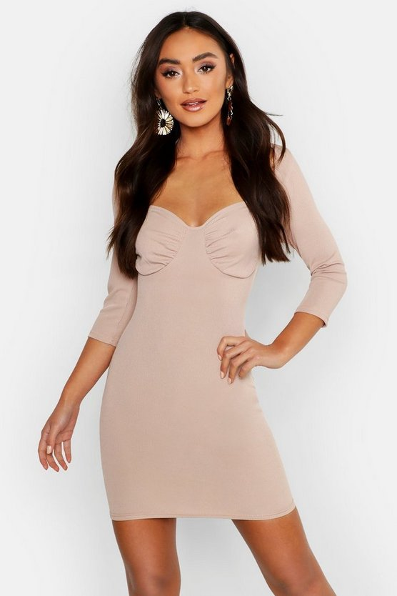 Stone Petite Gathered Cup Detail Bodycon Dress