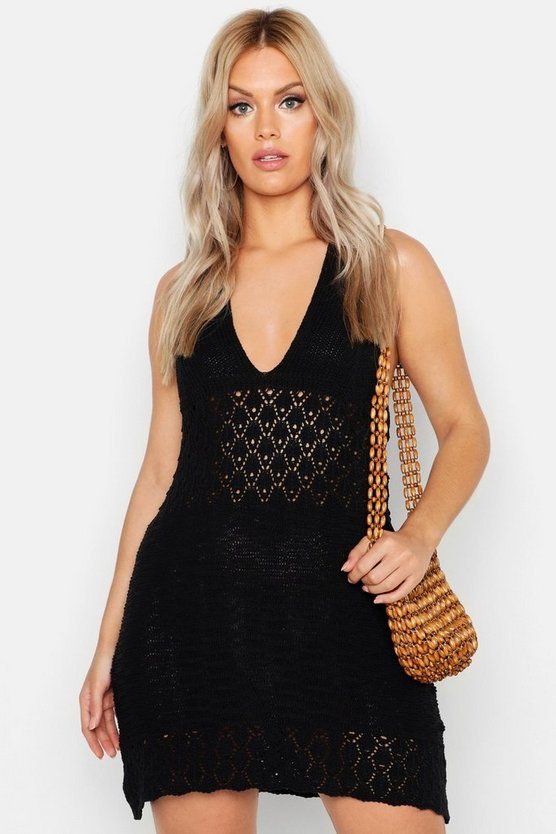 Womens Black Plus Crochet Halterneck Beach Dress