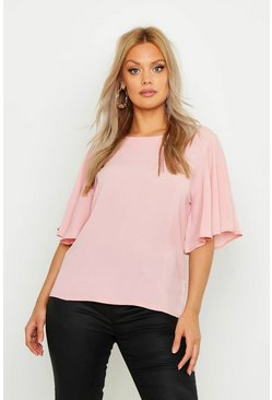 Womens Blush Plus Angel Sleeve Fit & Flare Top