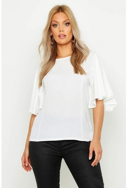 Womens Ivory Plus Angel Sleeve Fit & Flare Top