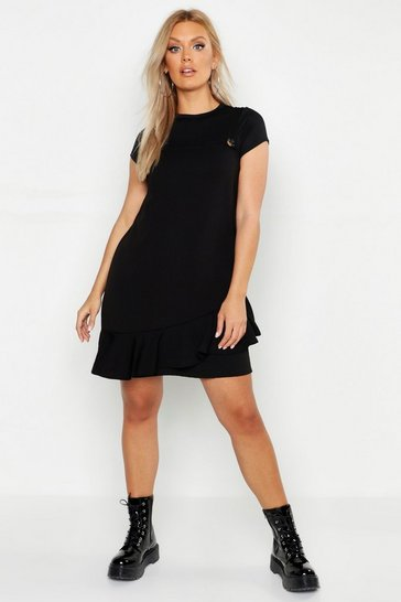 Womens Black Plus Ruffle Hem Pinafore Dress