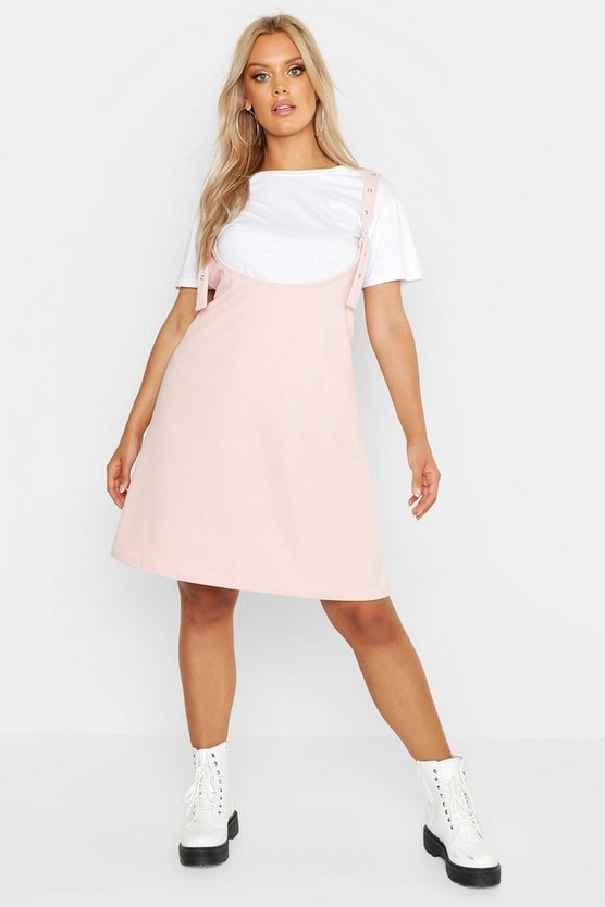 Womens Blush Plus Scoop Neck Pinafore Dress