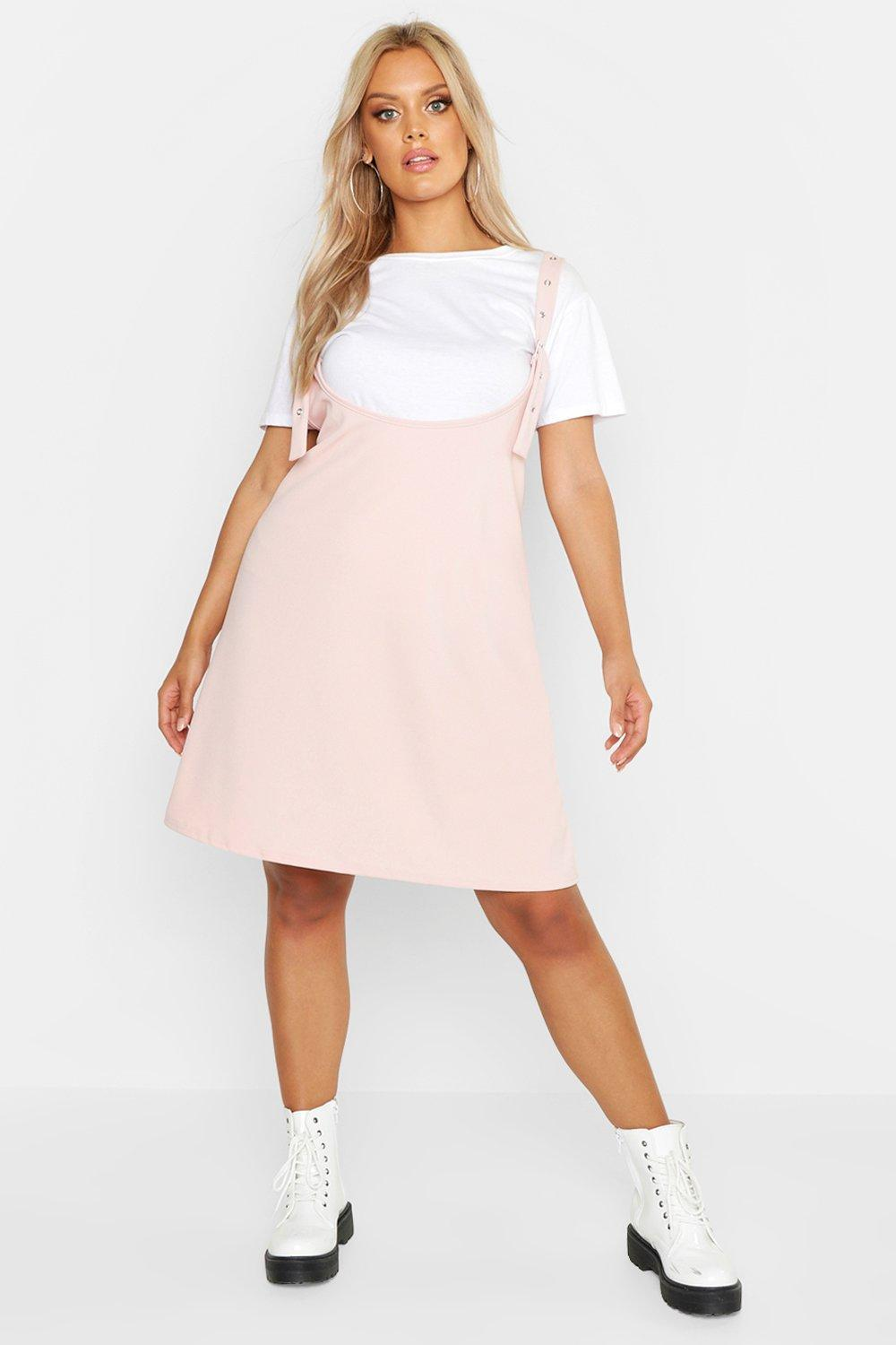 9eb4f27303 Womens Blush Plus Scoop Neck Pinafore Dress. Hover to zoom