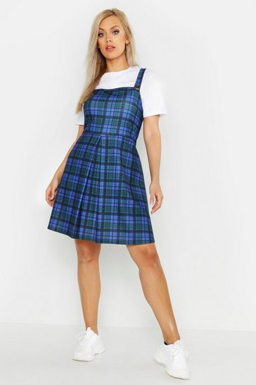 Womens Blue Plus Check Pinafore Dress