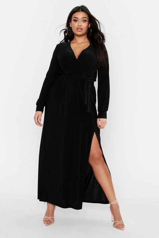 Black Plus Slinky Wrap Tie Waist Maxi Dress