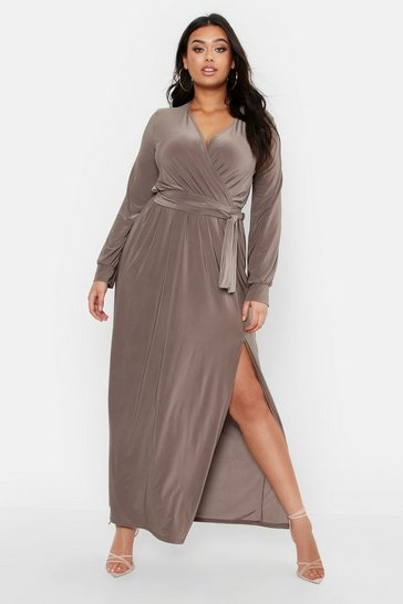 Womens Mocha Plus Slinky Wrap Tie Waist Maxi Dress