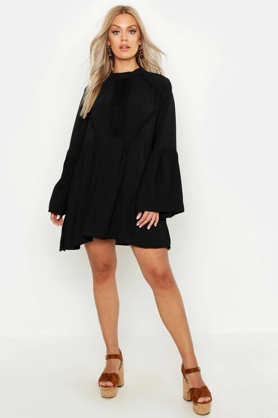 Womens Black Plus Boho Crochet Detail Wide Sleeve Smock Dress