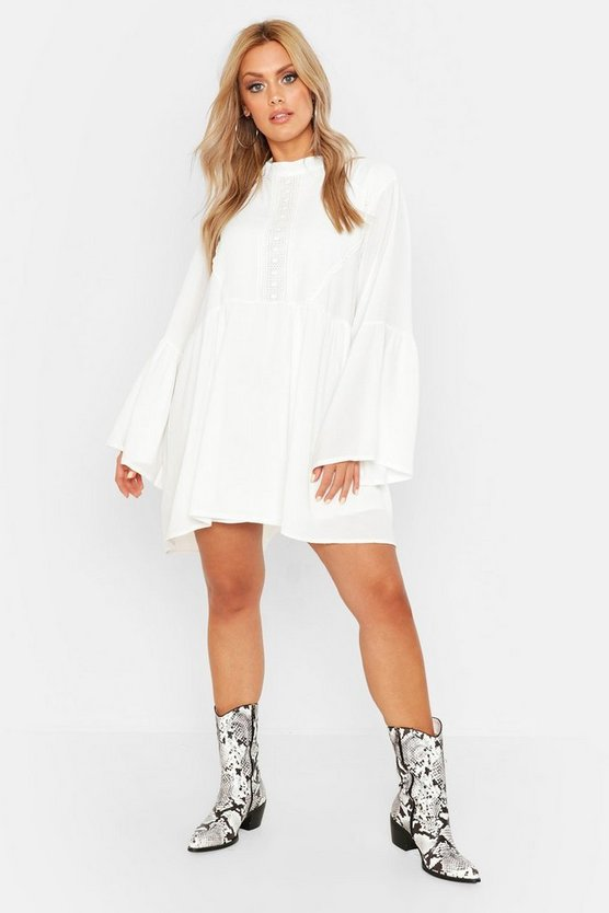 Womens White Plus Boho Crochet Detail Wide Sleeve Smock Dress