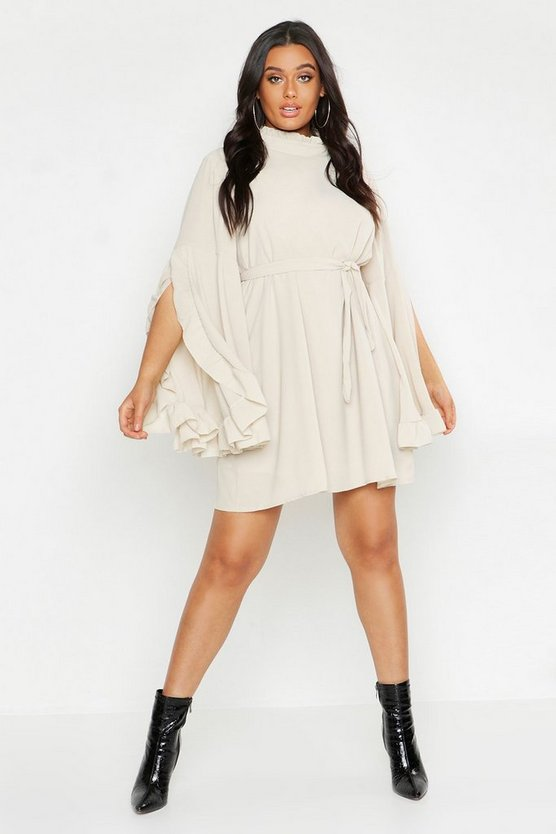 Plus Boho High Neck Wide Sleeve Shift Dress