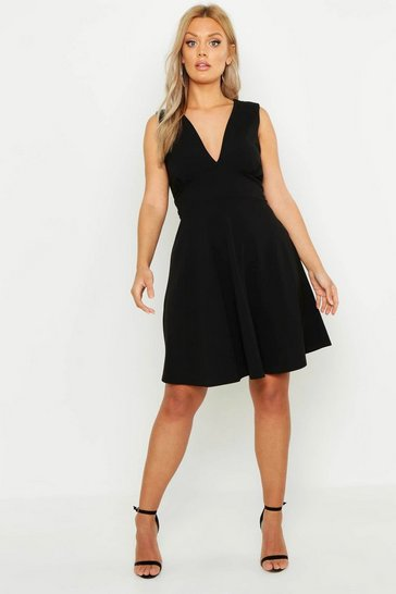Womens Black Plus Plunge Skater Dress