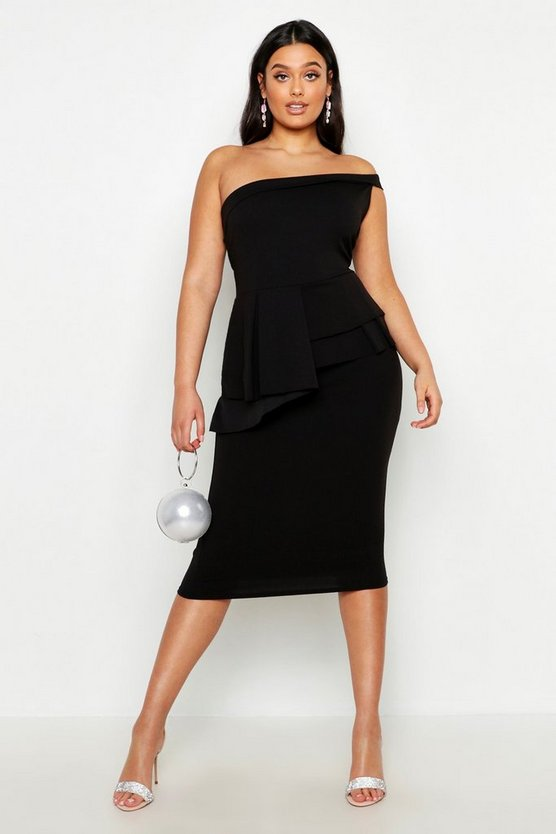 Womens Black Plus One Shoulder Bandeau Peplum Pencil Midi Dress