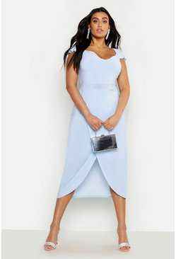 Womens Pastel blue Plus Slinky Cold Shoulder Wrap Midi Dress