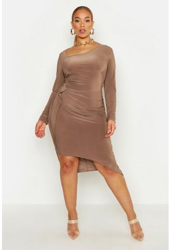 Womens Mocha Plus Slinky Asymmetric Midi Dress