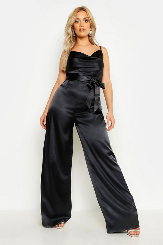 Plus Satin Wide Leg Cowl Neck Jumpsuit