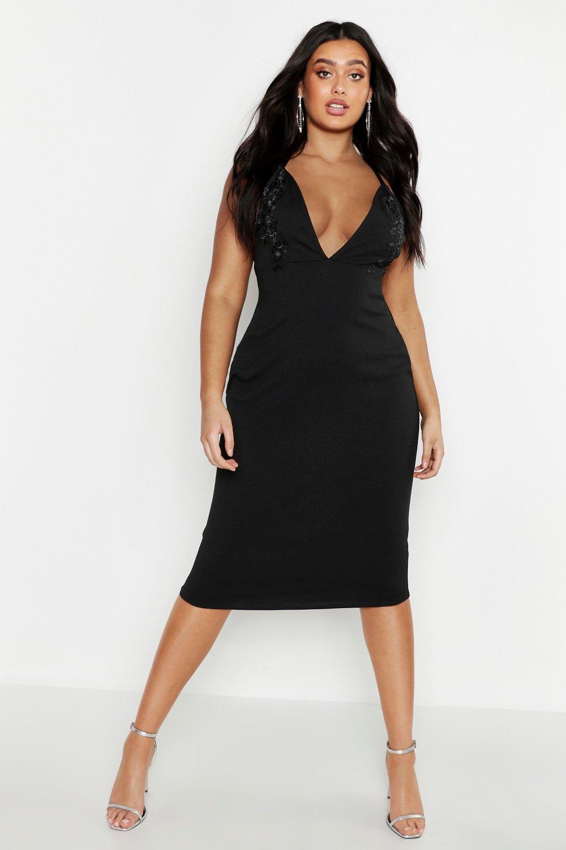 ff6ebaa43516 Womens Black Plus Embroidered Plunge Midi Dress