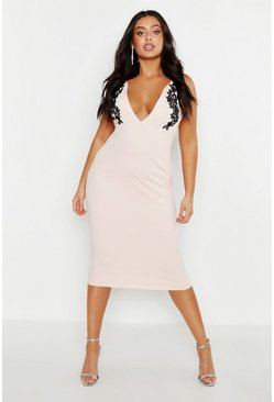 Womens Champagne Plus Embroidered Plunge Midi Dress