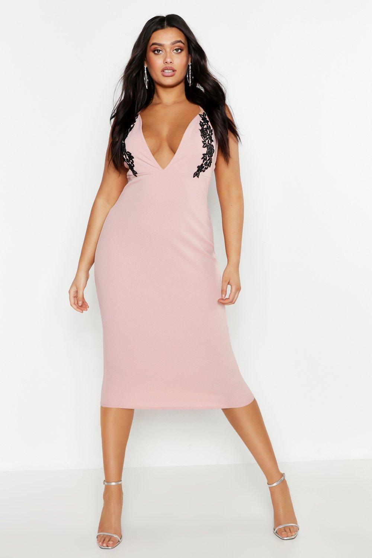 Plus Embroidered Plunge Midi Dress