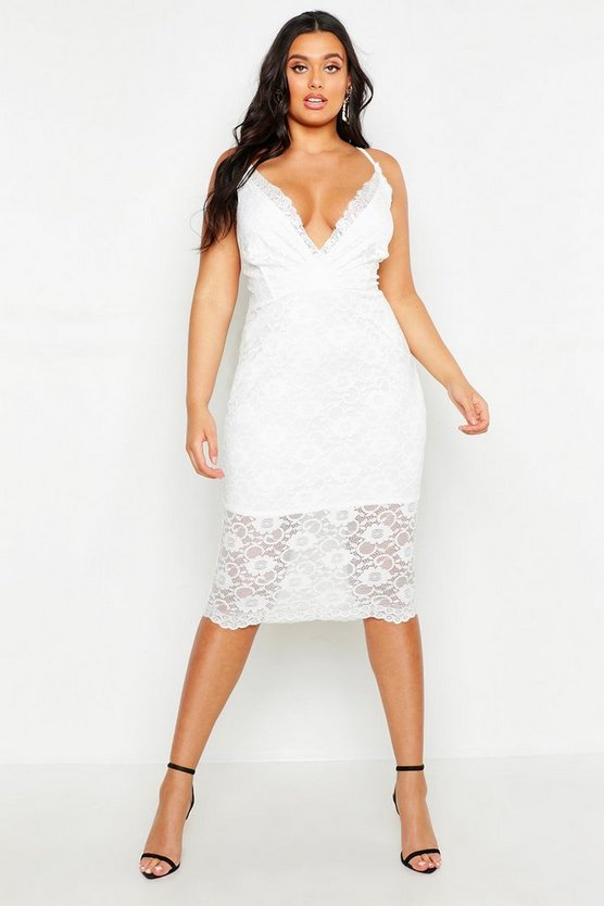 Womens Ivory Plus Lace Plunge Midi Dress