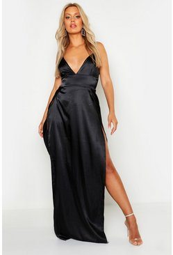 Plus Satin Strappy Slip Maxi Dress, Black, Donna
