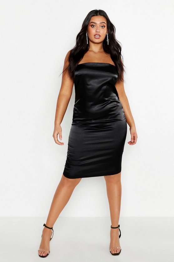 Black Plus Satin Strappy Slip Dress