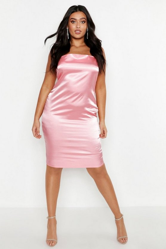 Womens Coral blush Plus Satin Strappy Slip Dress
