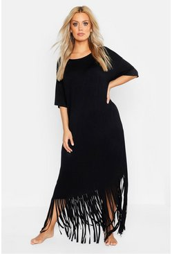 Womens Black Plus Tassel Beach Maxi Dress