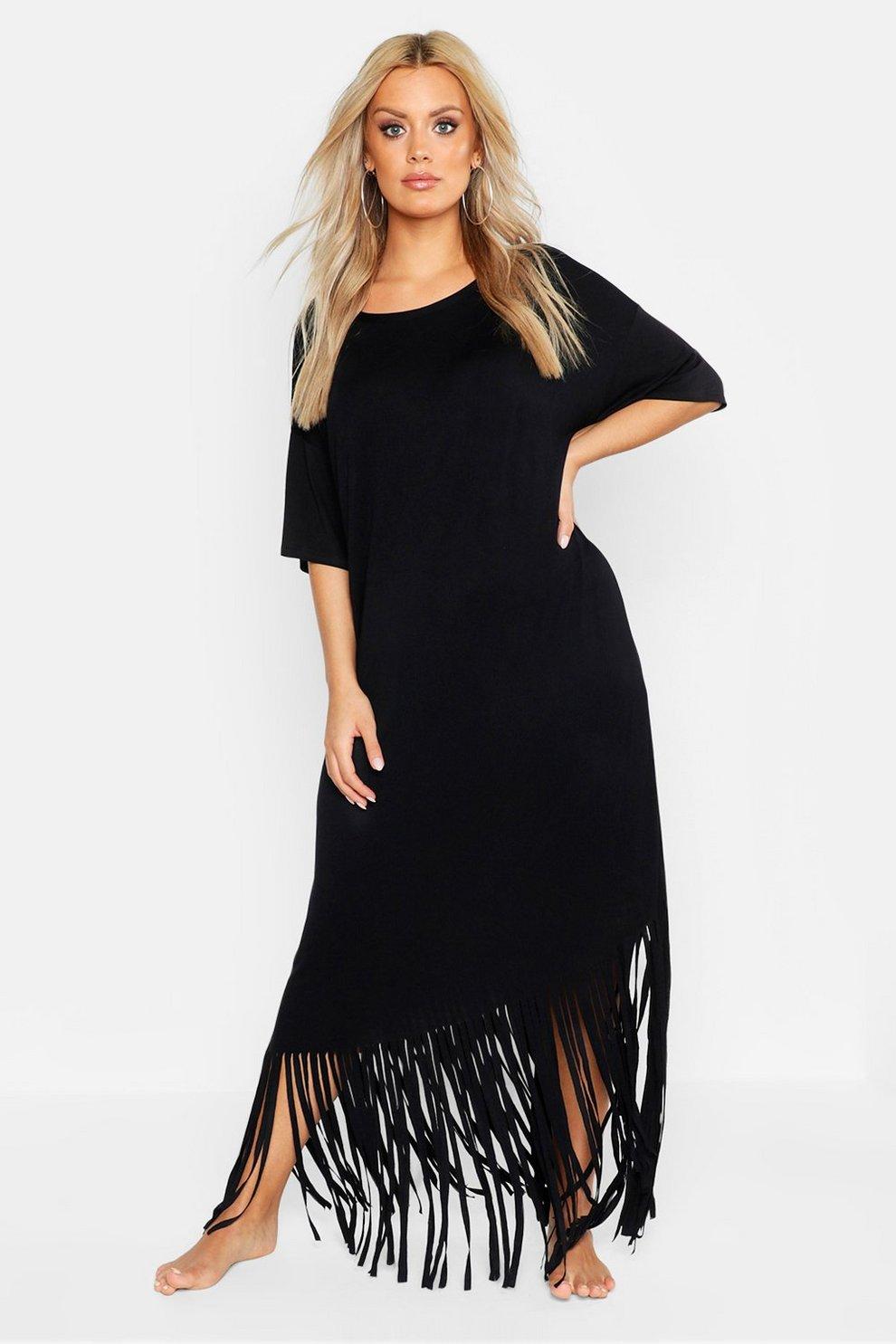b73930a5a8 Womens Black Plus Tassel Beach Maxi Dress. Hover to zoom