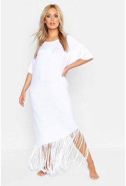 Womens White Plus Tassel Beach Maxi Dress
