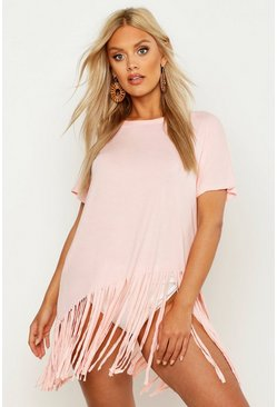 Womens Peach Plus Tassel Beach Top