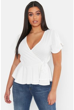 Womens White Plus Rib Wrap Cap Sleeve Peplum Top