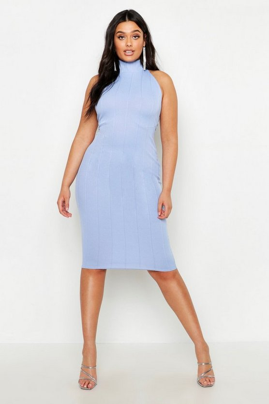 Womens Light blue Plus Bandage Halterneck Midi Dress