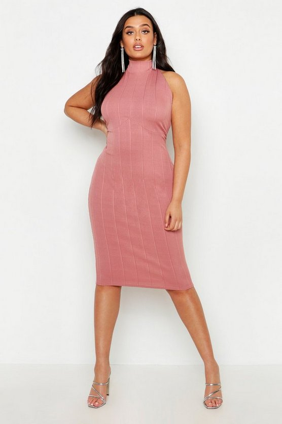 Womens Rose Plus Bandage Halterneck Midi Dress