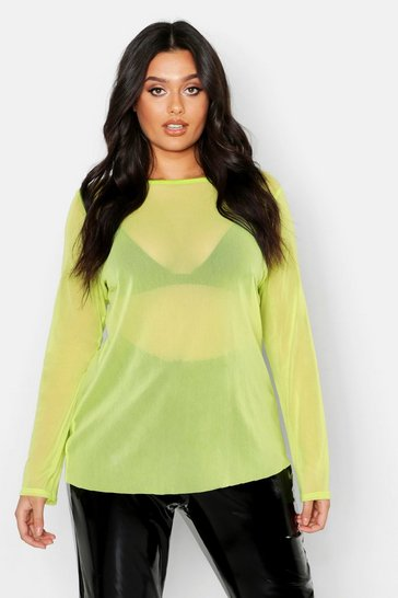 Womens Neon-lime Plus Mesh Long Sleeve Top