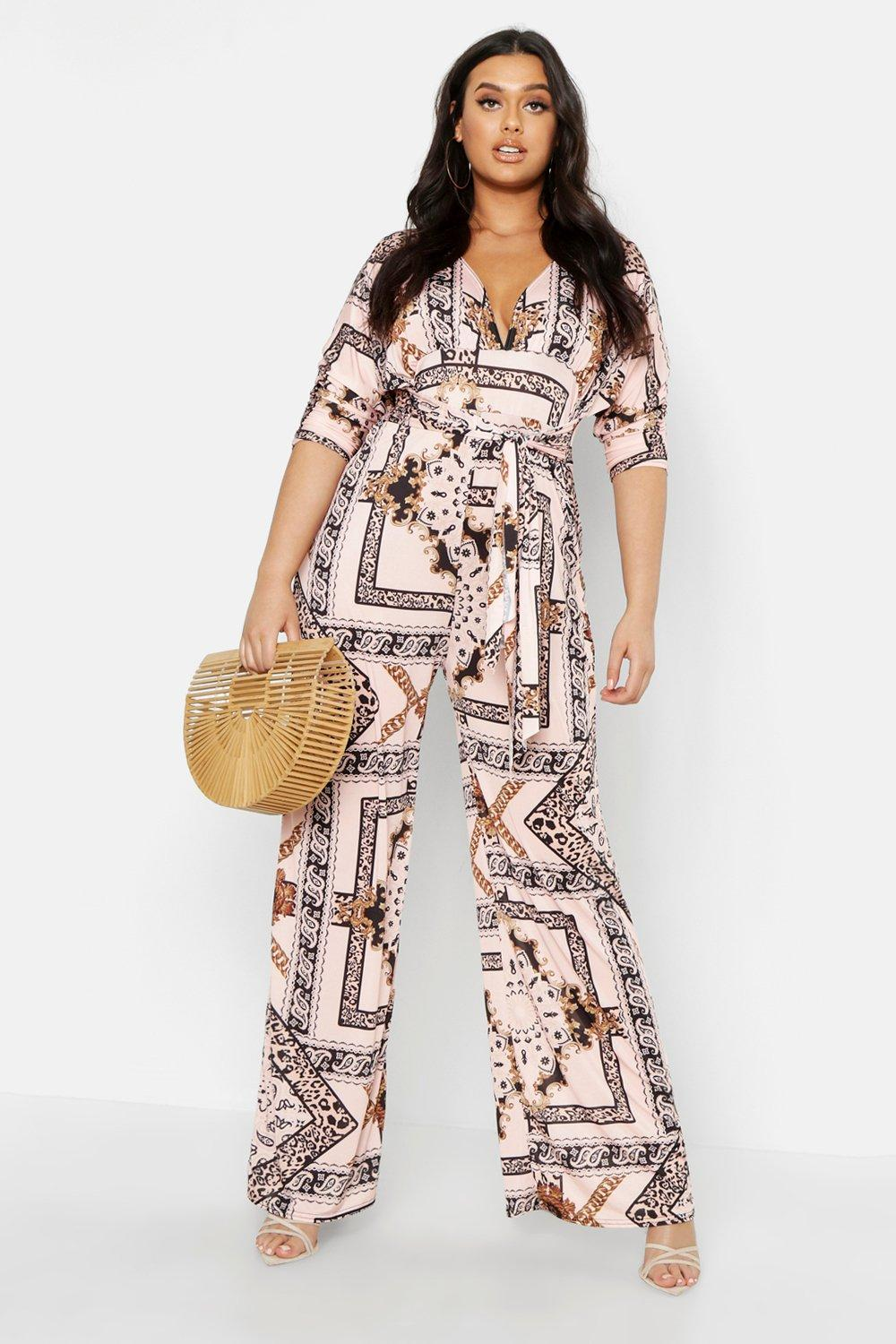 Plus Slinky Chain Print Wide Leg Plunge Jumpsuit