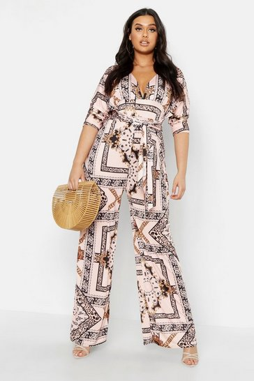 Womens Nude Plus Slinky Chain Print Wide Leg Plunge Jumpsuit