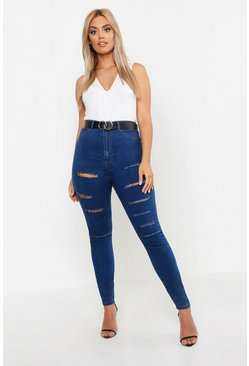 Womens Mid wash Plus Slash Rip Jegging