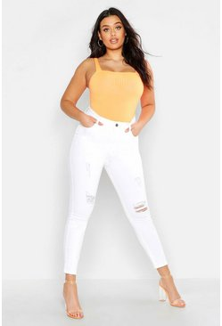 Womens Ecru Plus Ripped Skinny Jean