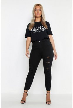 Womens Black Plus Ripped Skinny Jean