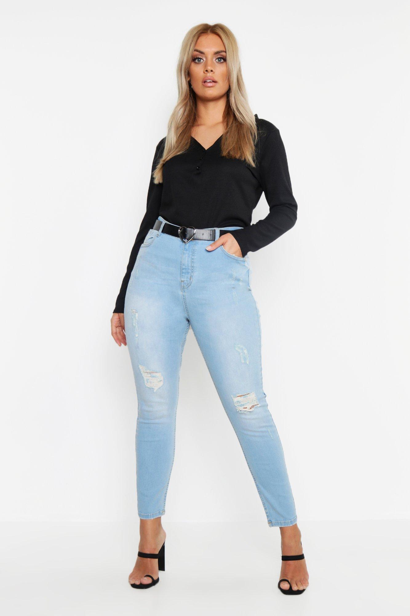 Plus Distressed Washed Skinny Jean