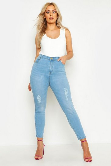 Womens Light wash Plus Ripped Skinny Jean