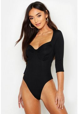 Womens Black Petite Gathered Cup Detail Long Sleeve Rib Bodysuit