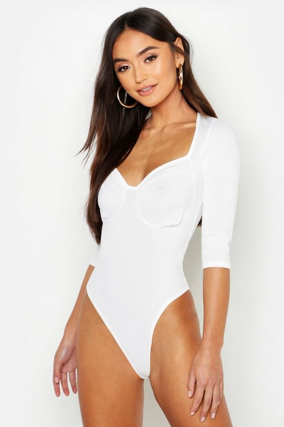 Womens White Petite Gathered Cup Detail Long Sleeve Rib Bodysuit
