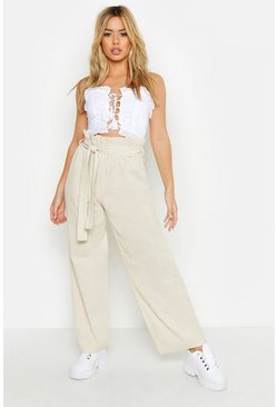 Womens Stone Petite Linen High Waisted Trousers