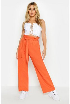 Dam Terracotta Petite Linen High Waisted Trousers