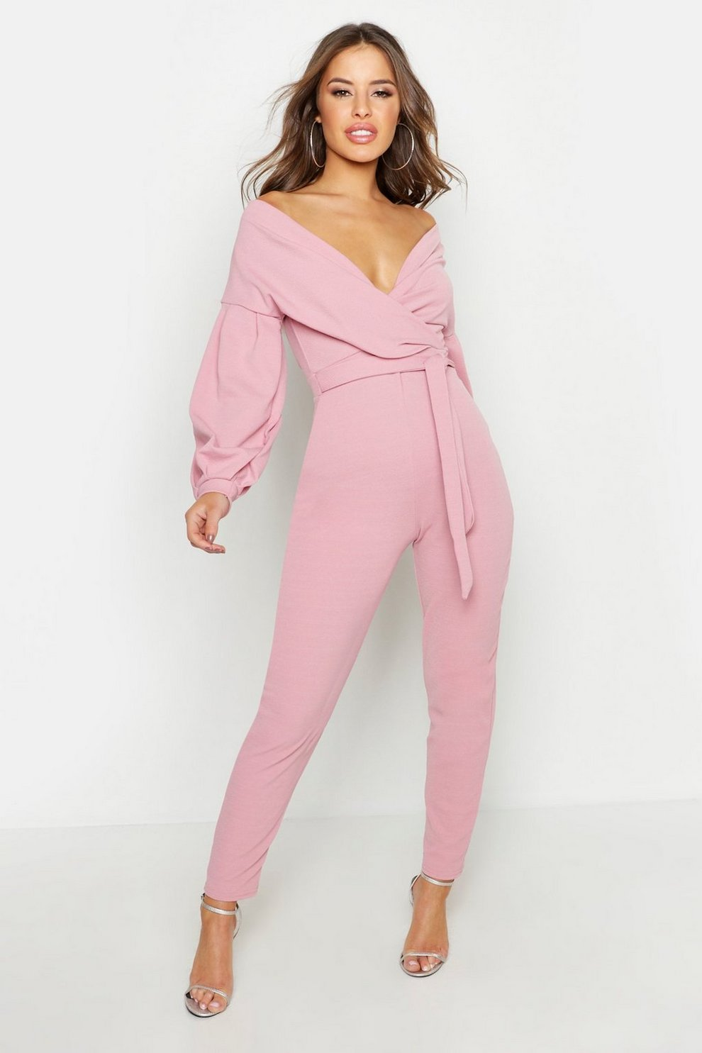 cc79aa0929ed Petite Off The Shoulder Straight Leg Jumpsuit
